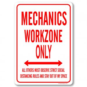 Mechanics Desk Sign